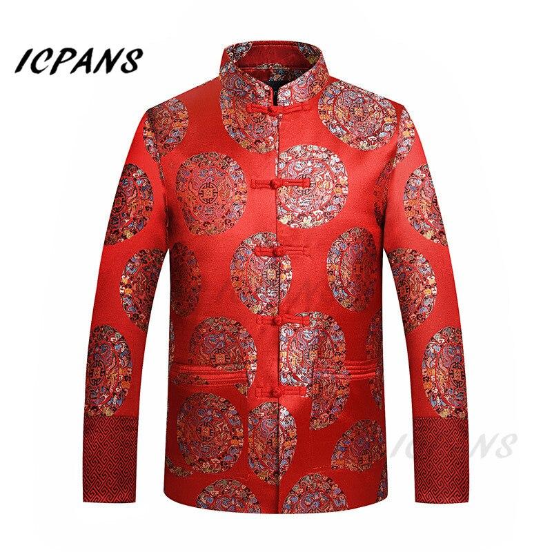 Veste en soie rouge ICPANS hommes vêtements chinois traditionnels pour hommes Dragon Tang costume hommes chinois hauts veste rouge veste de mariage