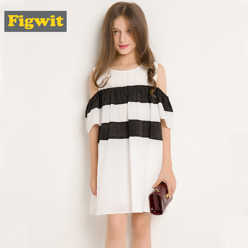 Figwit Girl Striped Dress 2018 Summer Autumn New Children Clothing Off Shoulder Black and White Loose Casual Teenage