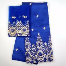 5 Yards Top sale royal blue african George lace fabric match 2yards french net embroidery set for clothes WH4-2