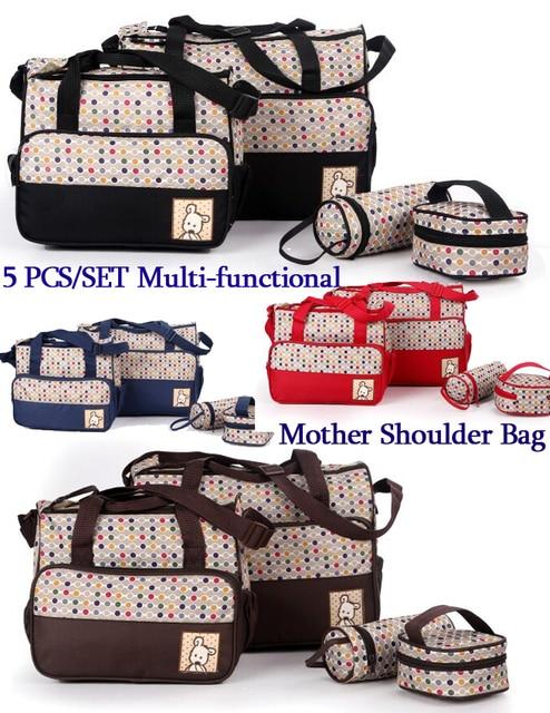 5 PCS/SET Multifunction Mother Shoulder Bag Baby Nappy Bags Diaper Bag Maternity Mummy Handbag Waterproof Baby Stroller Bag