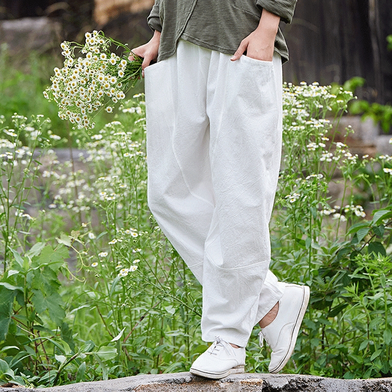spring summer Vintage slacks elastic waist casual trousers loose plus size cotton linen   wide     leg     pants   Pantalon de loisirs