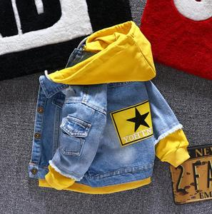 Image 1 - Boy girl Denim Jackets kids jeans coat Children splice Outerwear clothing Spring Autumn boy hooded sport Clothes For 1 6T kids