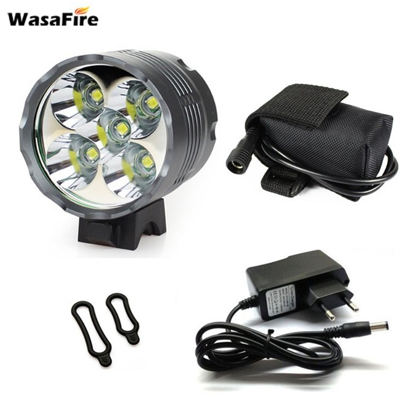WasaFire Lantern XM-L 5*T6 LED <font><b>Bicycle</b></font> <font><b>Light</b></font> Headlight <font><b>7000</b></font> <font><b>Lumen</b></font> LED Bike <font><b>Light</b></font> Lamp Headlamp+8.4V Charger+9600mAh Battery Pack image