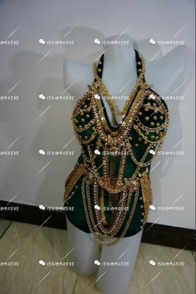 Las mujeres Hechas A Mano de Calidad de Diamantes Remaches Cadena Punky dj Discoteca traje cantante dj Sexy Correa de espagueti de la manera vestido de Una Pieza
