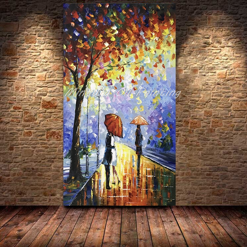Free shipping Handpainted Wall Art Abstract Painting Rain Tree Road Canvas Colorful Palette Knife Oil Painting Home Decoration リビング シャンデリア