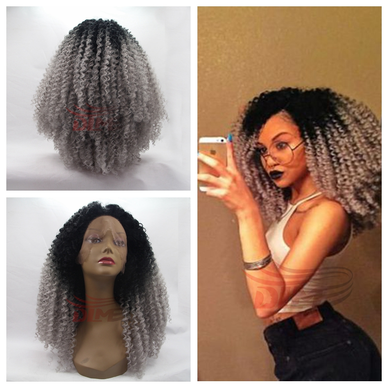ФОТО Afro Kinky Curly Heat Resistant Fiber Synthetic Wigs For Black woman Cheap Price black gray Lace front ombre Wig