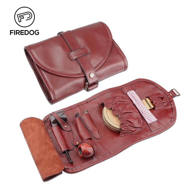 Firedog Smoking Pipe Bag Genuine Leather Pouch Organize Vintage Case For 2 Weed Tool Lighter