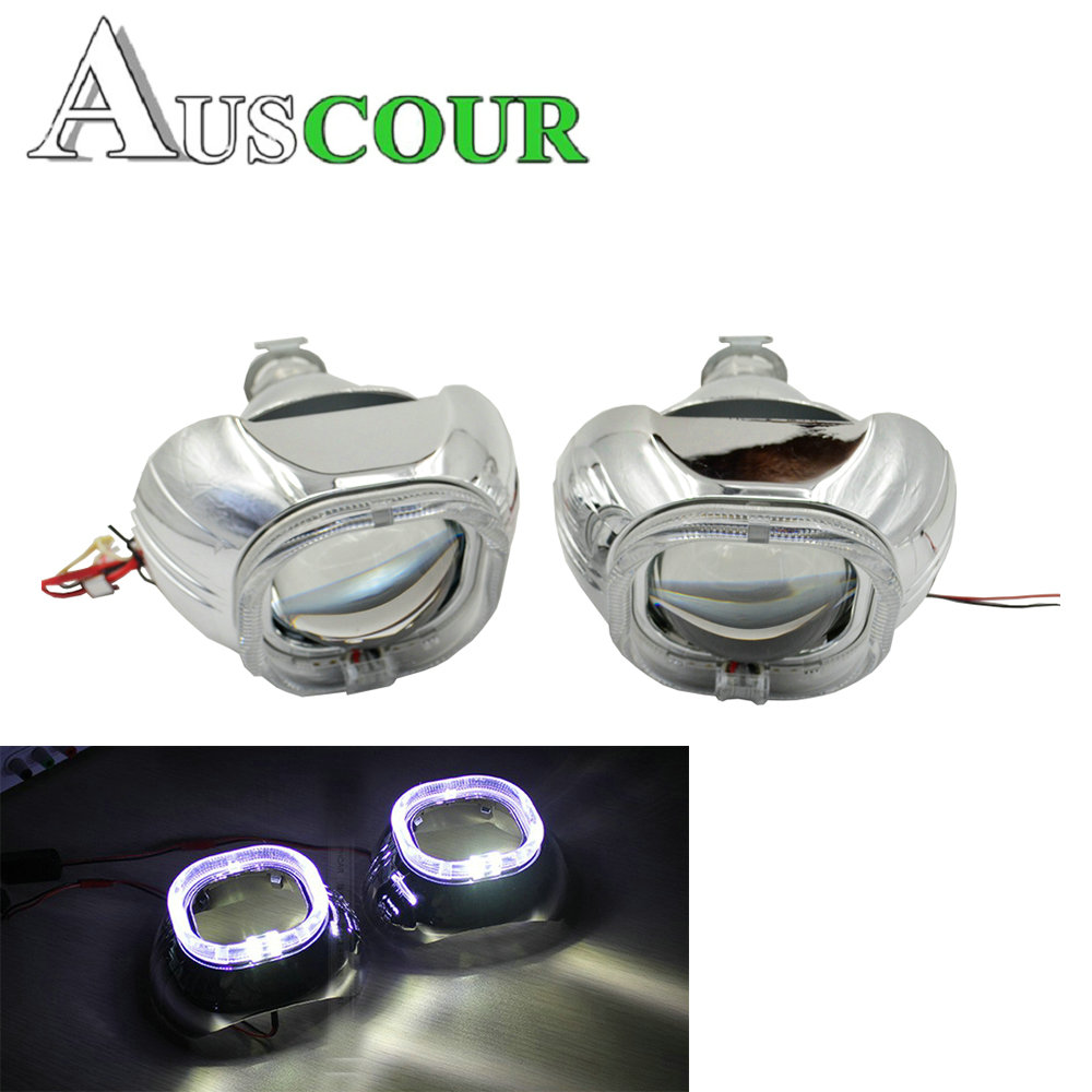 2 pcs 3.0 inch mini Bixenon hid Projector lens with full metal hid xenon kit bulb lamp car assembly retrofit headligt h1 h4 h7 lhd 35w 2 8 inch hid bixenon headlight headlamp projector lens full retrofit kit car angle eye halo h7 h4 ballast xenon bulb