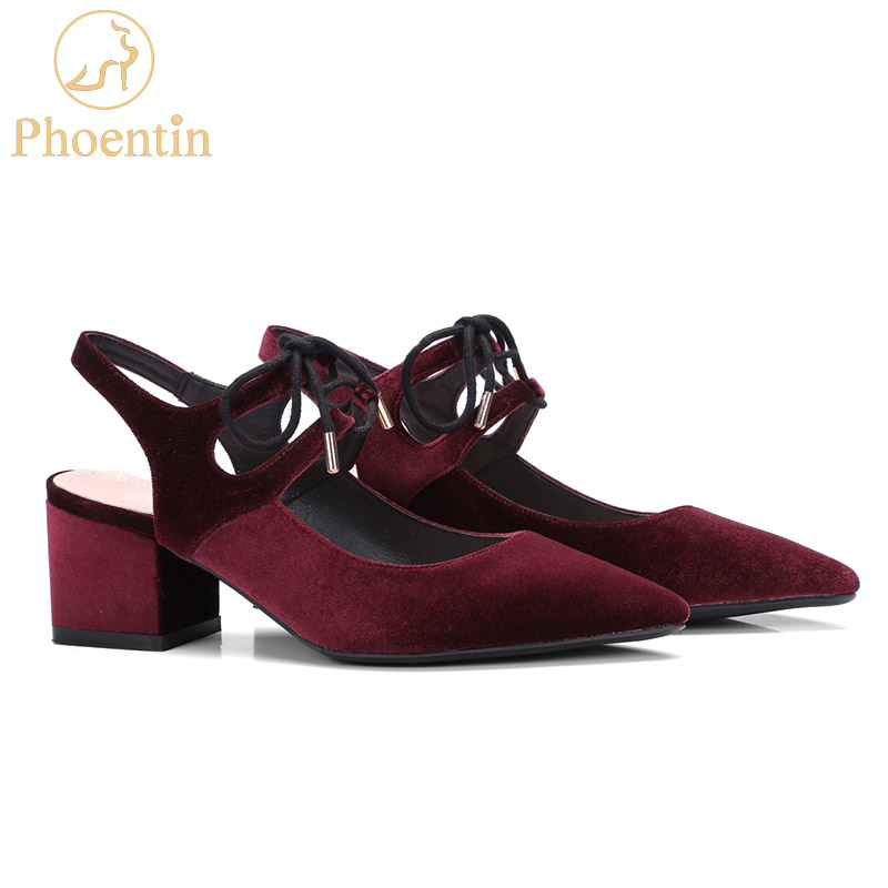 Phoentin wine red ladies sandals lace up summer womens shoes sheepskin narrow band genuine leather velvet heels point toe FT332
