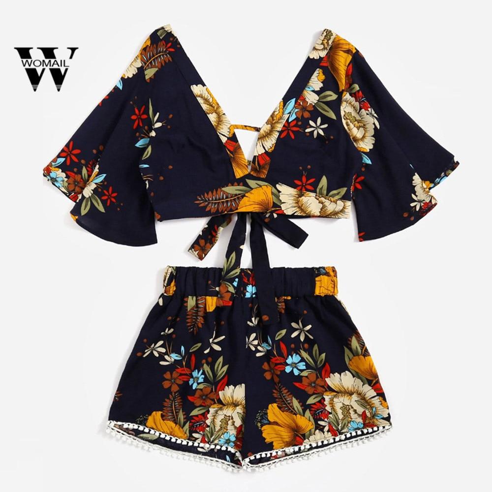 2018 hot sale Casual Two Piece Set Petal Sleeve Women Botanical Print Summer V Collar Top Shorts Beachwear drop shipping Mar 15