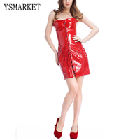 New Sexy Black Red PU Leather Overbust Corset Dress 2017 Hot Womens Underwear Strapless Bodycon Mini
