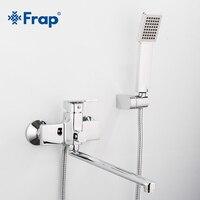 Frap nova banheira torneira do chuveiro com 345mm tubo de saída torneiras banheiro misturador água com chuveiro mão quadrado f2246