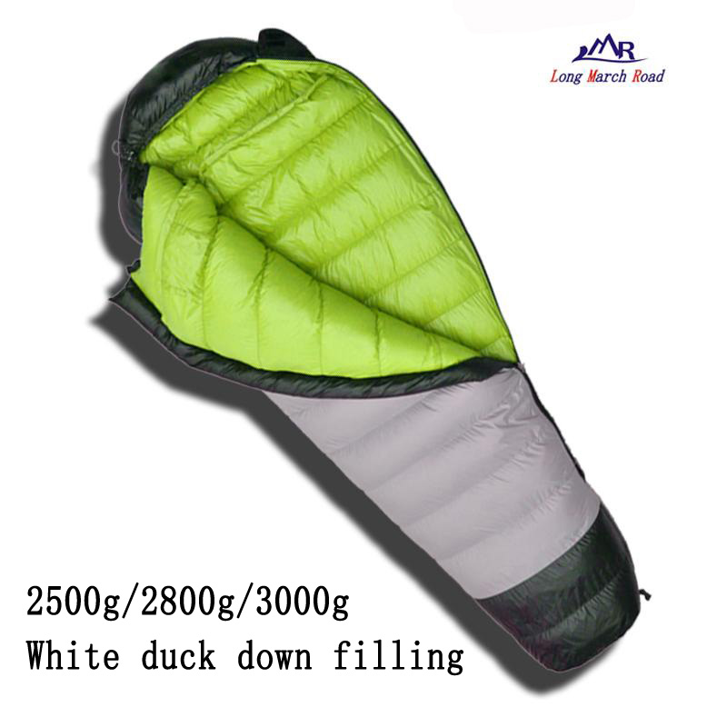 LMR ultralight duck down filling 2500g/2800g/3000g down can be spliced camping sleeping bag pu leather and corduroy spliced zip up down jacket