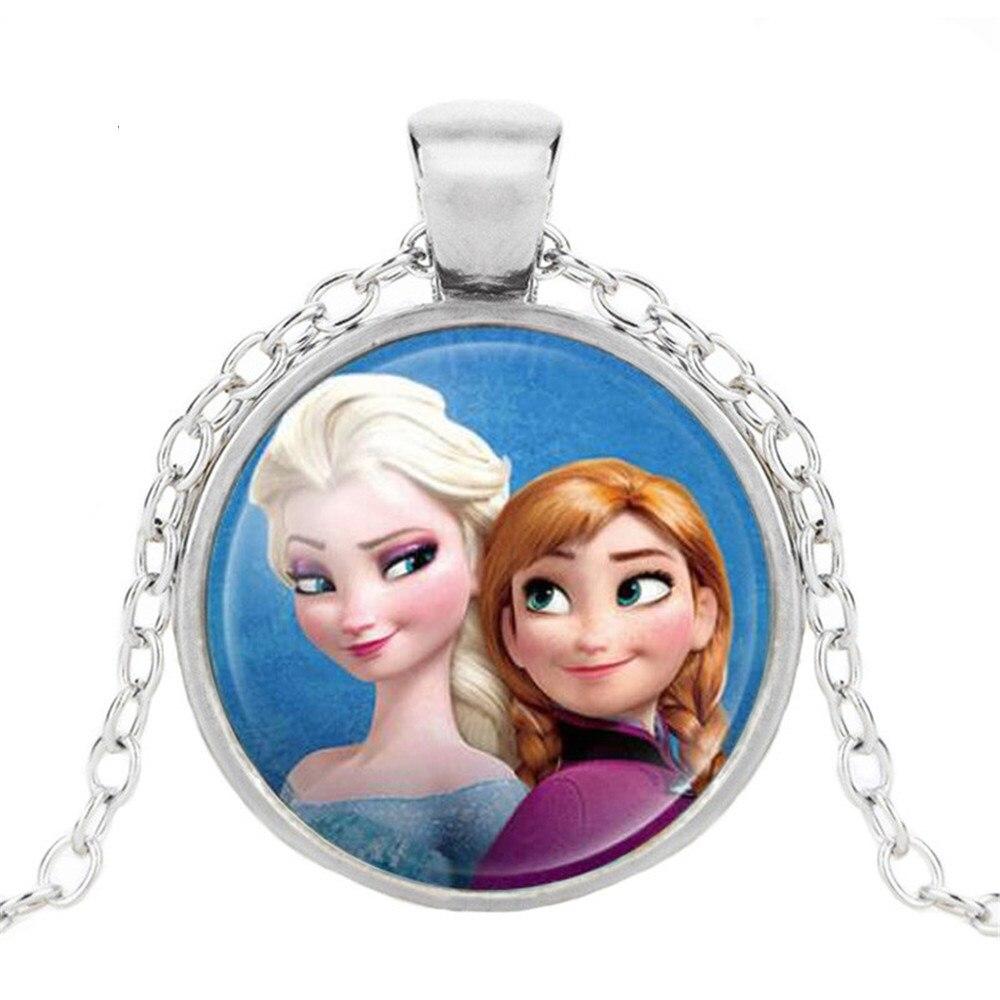 Новая мода популярное женское ожерелье Кристалл ювелирные изделия выпуклая круглая Принцесса Подвеска Ожерелье Девушка - Окраска металла: 17