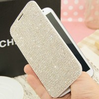 Luxury Bling Rhinestone Diamond Wallet Flip Leather Case For Samsung Galaxy S5 S4 S3 Note 2