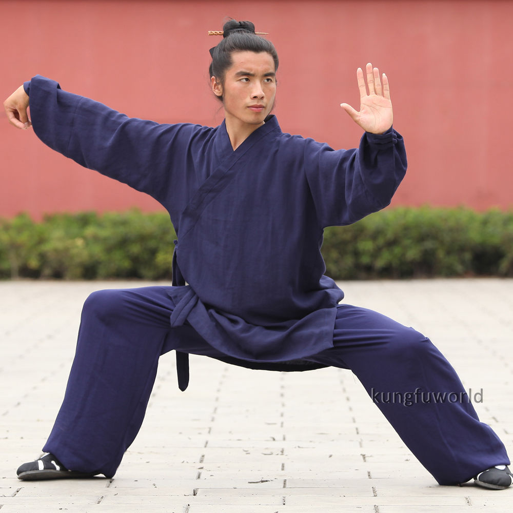 High Quality Linen Shaolin Monk Wudang Taoist Robe Style Tai chi Uniform Martial arts Kung fu Suit