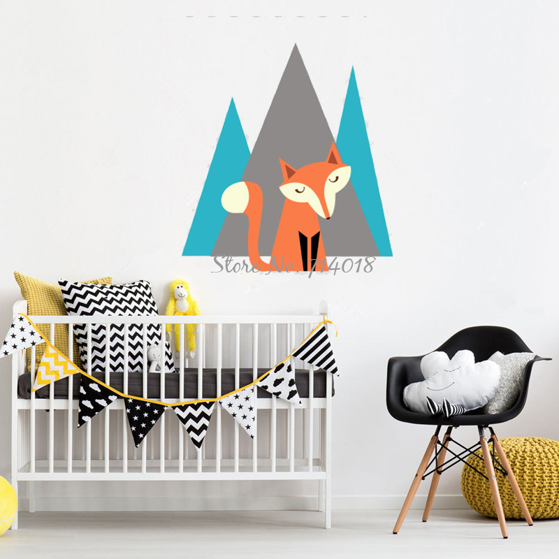 Fox Mountain Nursery Wall Decal 3D Wall Stickers For Kids