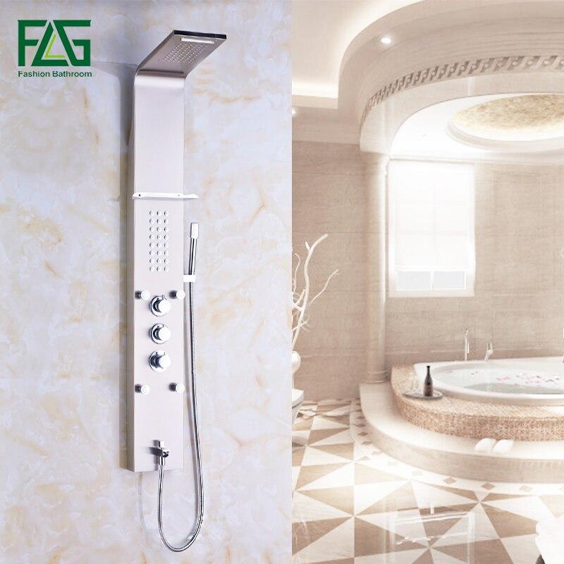 Настенный Ванная комната дождь Никель матовый водопад душ Панель с ручной опрыскиватель термостатический комплект