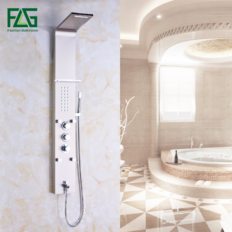 Wall Mounted Bathroom Rain Nickel Brushed Waterfall Shower Panel With Hand Sprayer Thermostatic Shower Set in Shower Faucets from Home Improvement