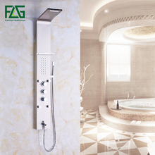 Wall Mounted Bathroom Rain Nickel Brushed Waterfall Shower Panel With Hand Sprayer Thermostatic Shower Set brushed nickel waterfall bath shower tub faucet one handle with hand shower brushed nickel finished