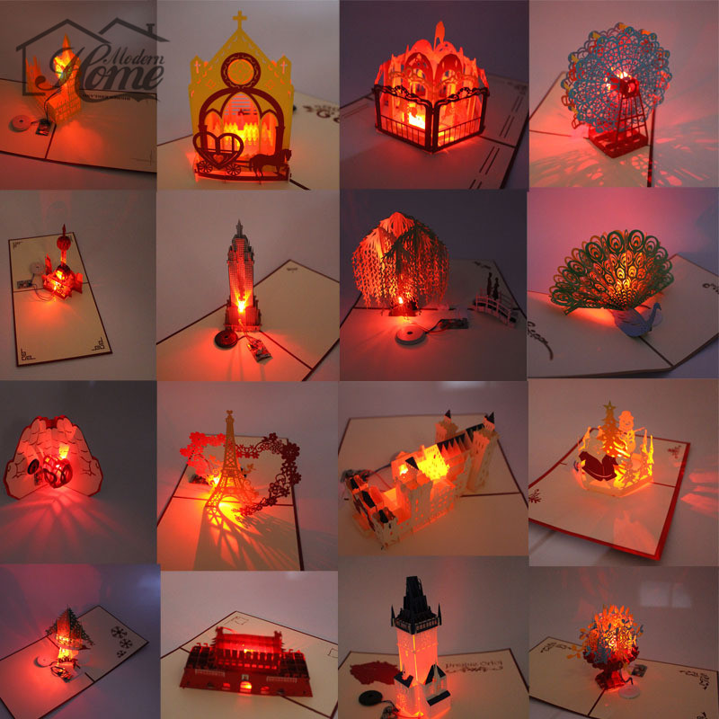3D Laser Cut Pop Up Greeting Card LED Light Birthday Christmas Music Postcard With Envelope Handmade Gift Souvenir Paper Craft 031 5mw 532nm green laser pointer 3 led white light flashlight blue 2 x aaa