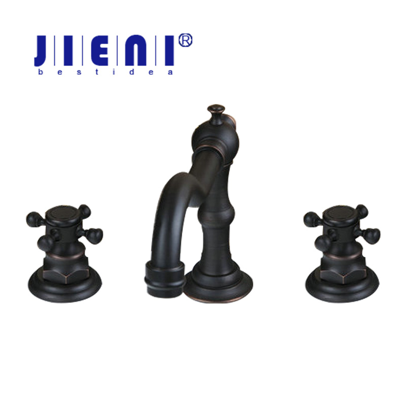 Black 3 Pieces Bathroom Wash Basin Sink Tap Oil Rubbed Black Bronze Brass Vessel Double Handles Bathtub Tap Mixer Faucet bathroom accessories black oil rubbed bronze toothbrush holders band ceramic cups wba474