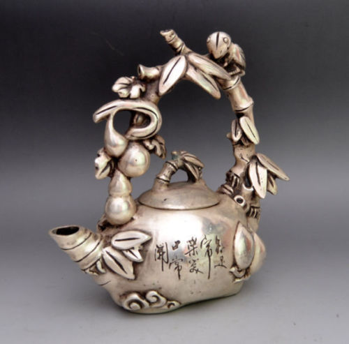 Asia Collectible Decorated Miao Silver Carved Bird On Grape Tree Tea PotAsia Collectible Decorated Miao Silver Carved Bird On Grape Tree Tea Pot