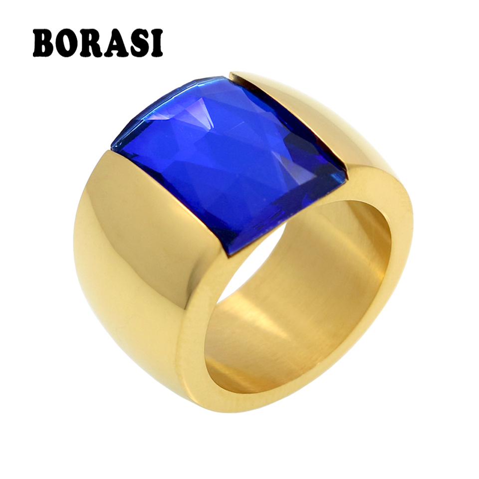 Fashion Brand Stainless Steel Ring For Women Austrian Crystal Blue Green Red Stone Ring Gold Color Female Wedding Ring  Band 1