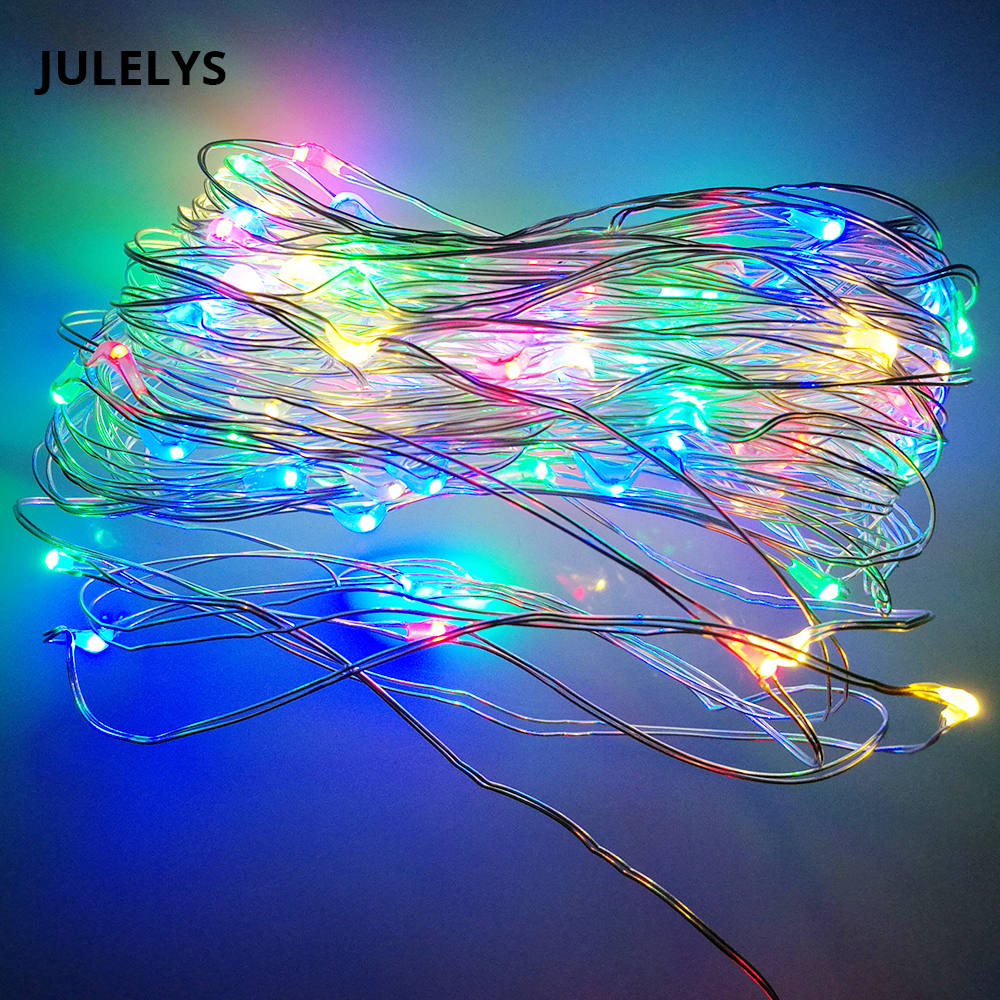 JULELYS 3M 30M USB Garland Copper Wire String Lights Christmas LED lights Decoration For Bedroom Holiday Party Birthday Decor new style holiday party decoration supplies el wire suit diy lights cloth men dance clothes for party decor