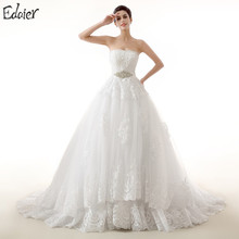 White Ivory Wedding Dresses Ball Gown Strapless Beaded Crystals Lace Long Bridal Gown Bride Dresses Plus Size