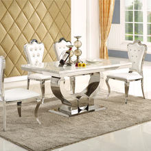 Dining-Room-Set Marble Home-Furniture Minimalist Stainless-Steel 4-Chairs Muebles Modern