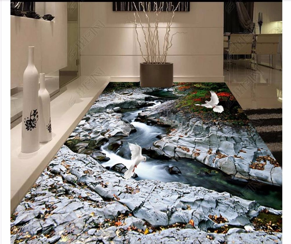 custom wallpaper 3d flooring Waterproof self-adhesion murals 3D granite stream floor tile three-dimensional painting background 3d photo wallpaper custom 3d flooring painting wallpaper murals golden spiral staircase to draw 3 d floor tile 3d room wallpaper