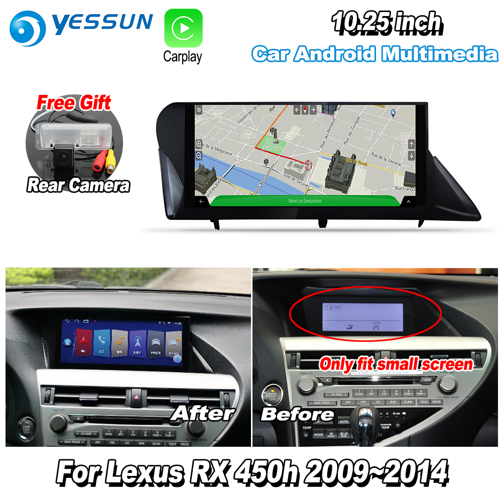 YESSUN 10.25'' For Lexus RX450h RX 450h 2009~2014 AL10 Car Android Carplay GPS Navi maps Navigation Player Radio WiFi Camera