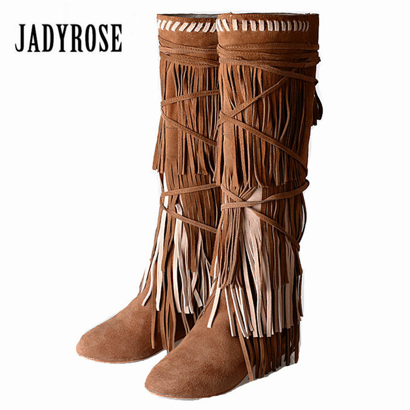 Jady Rose Full Fringed Women Knee High Boots Suede Female Height Increasing Boots for Winter Tassels Platform Rubber Flat Boot