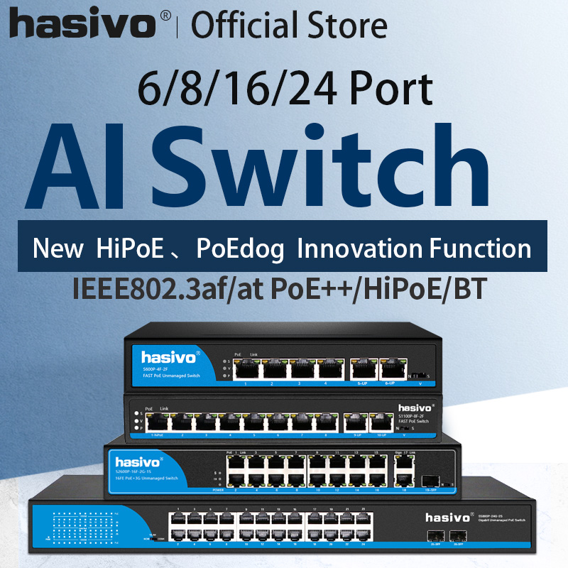Ai Switch PoE Switch 4 Port 8 Port 16 Port Ethernet Switch Support VLAN  250M For Ip Camera Wirless AP
