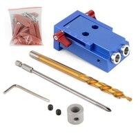 Mini Pocket Hole Jig Kit W Step Drill Bit Woodworking Joint Tool Set Aluminum
