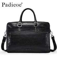 Padieoe Luxury Vintage Design Genuine Leather Briefcase Business man 15 inches Laptop Bag Durable Casual Tote Shoulder bag