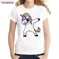 IYASEROZ 2017 Dabbing Unicorn Women T Shirt Short Sleeve O Neck Tops Fashion Panda Pug Cat