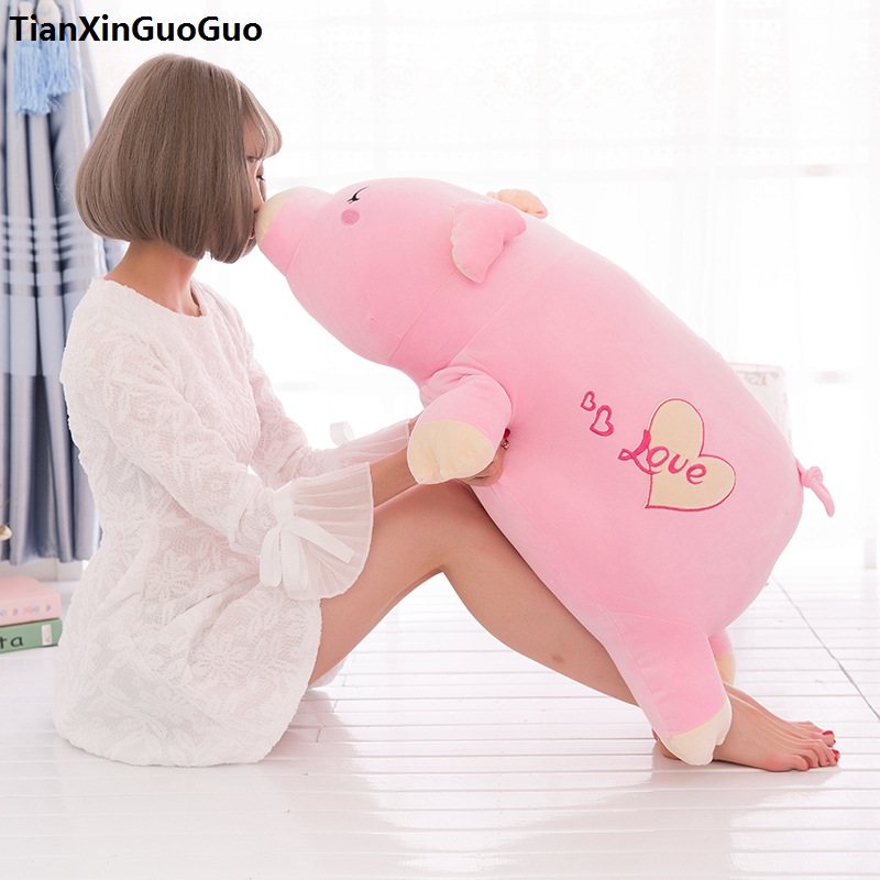 large 90cm cartoon pink prone pig plush toy very soft doll throw pillow birthday gift b2097 stuffed animal 120 cm cute love rabbit plush toy pink or purple floral love rabbit soft doll gift w2226