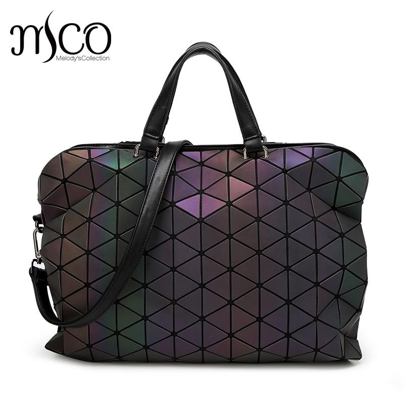 Japanese Style Luminous Holographic Shoulder Bag Women Diamond Laser Geometry Crossbody Bags Cube Folding Large Tote Handbag mariposa en plata anillo