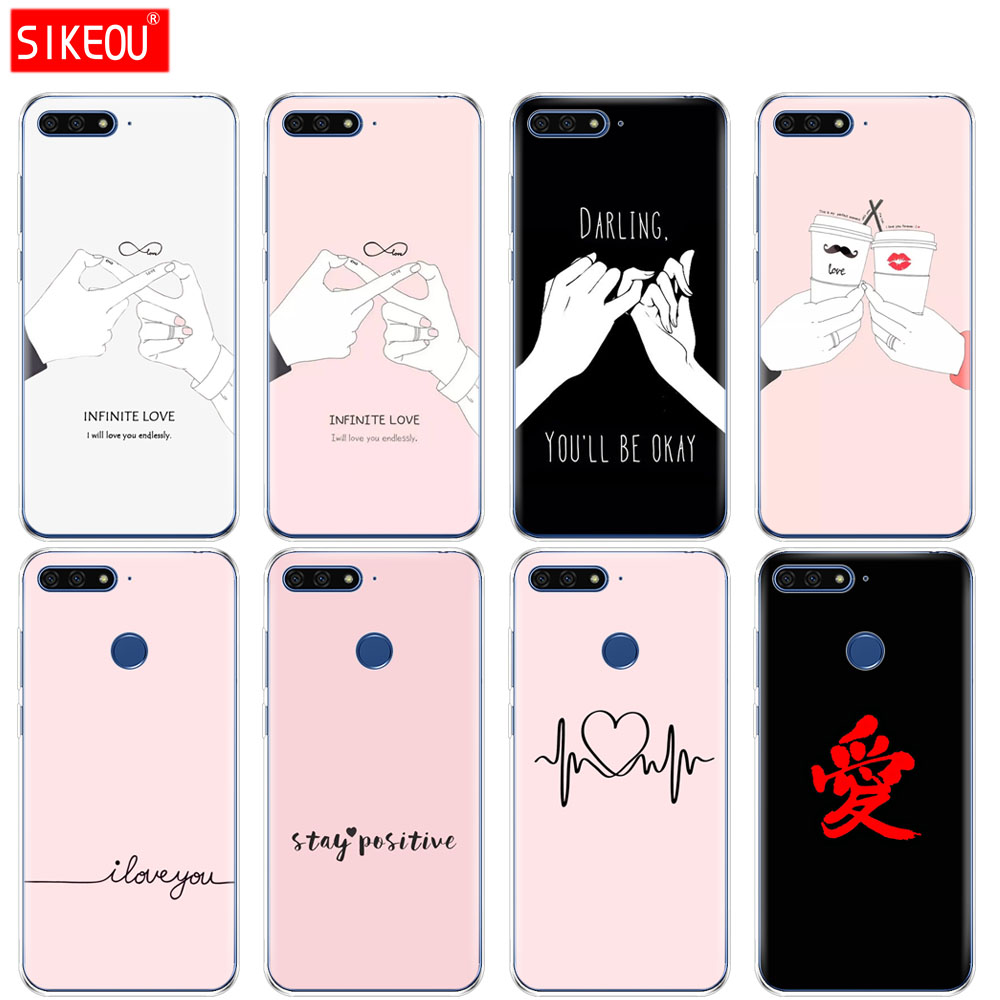 <font><b>Silicone</b></font> Cover Phone <font><b>Case</b></font> For <font><b>Huawei</b></font> Honor 7A PRO 7C <font><b>Y5</b></font> Y6 Y7 Y9 2017 <font><b>2018</b></font> Prime darling be ok love infinite image