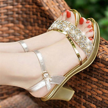 Sandals women's new high-heeled women's sandals one word buckle rhinestone thick with fish mouth women's shoes цена 2017