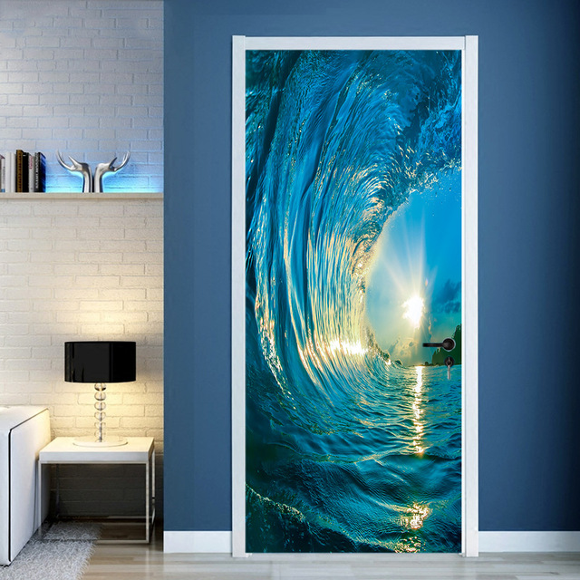 2 Pcs Set Gate Stickers DIY Mural Bedroom Home Decor Poster PVC 3D Surf Waterproof