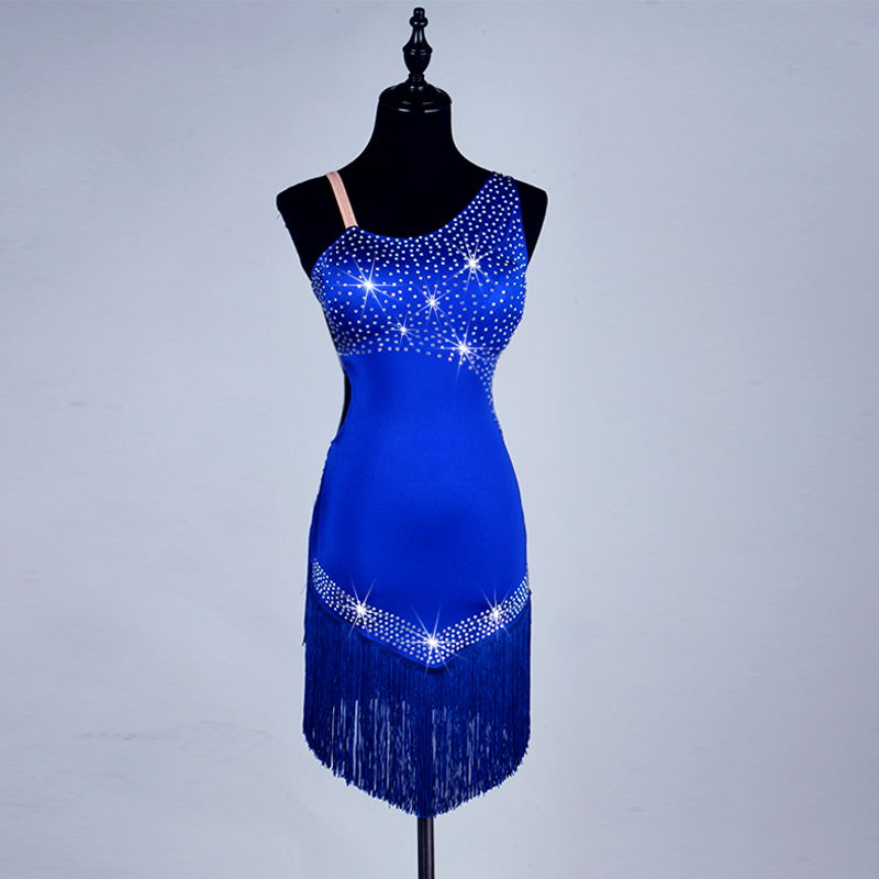 custom vestido sexy latin dance dresses for sale women Royal blue tassel latin dress latin dance costumes for women/girls