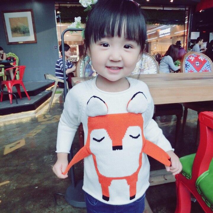 2016 bebek kız erkek sonbahar/kış aşınma sıcak fox karikatür kazak çocuk kazak giyim bebek kazak ücretsiz kargo