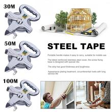30/50/100 Meters Portable Stainless Steel Shelf Ruler Thick And Durable Hand Crank Steel Frame Ruler Steel Tape Measure