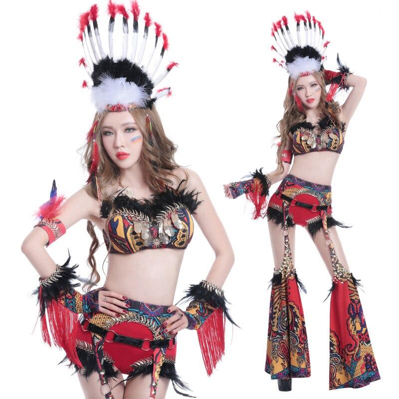 Vêtements de danse nationale vent reconstituant des manières antiques DJ chanteur piste de danse studio vêtements Sexy Femmes ds costumes de Performance de Scène