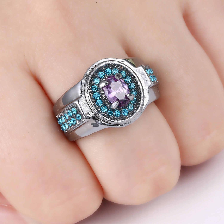 Новое модное винтажное женское кольцо с фиолетовыми кристаллами черное серебро золото заполненный цвет циркон Кристал для свадьбы, помолвки кольца Размер 7