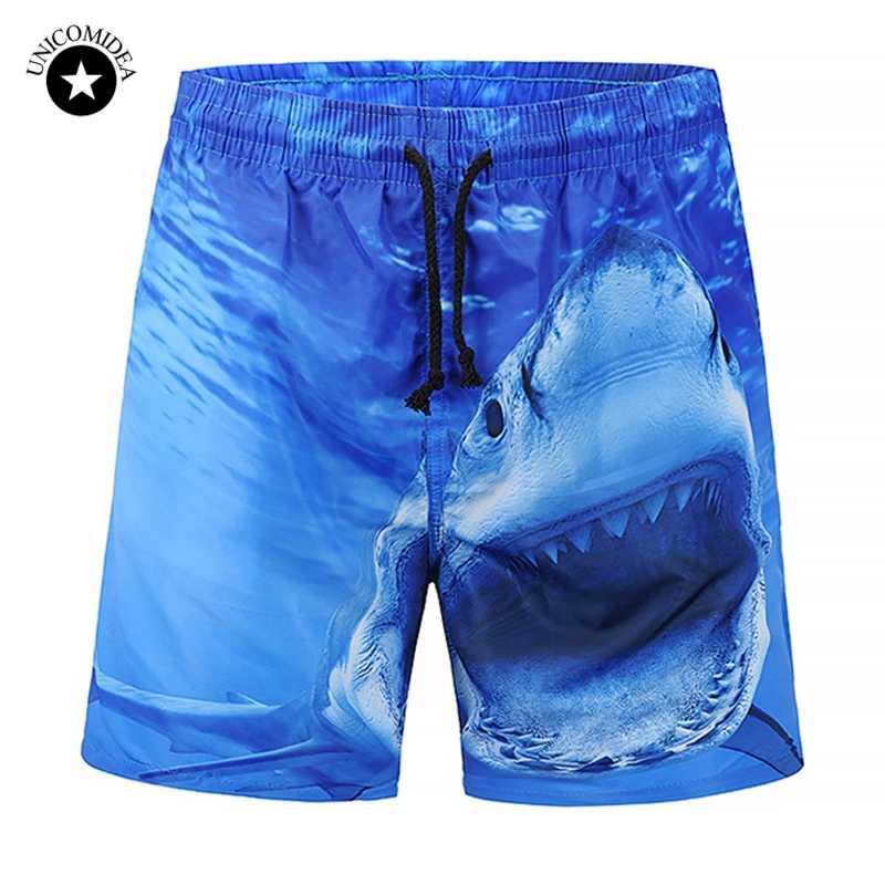 Unicomidea marca calções de bordo dos homens engraçado tubarão impressão praia shorts 2020 verão nova moda shorts alta qualidade ativo wear