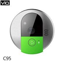 Doorcam C95 Free Shipping IP Door Camera Eye HD 720P Wireless Doorbell WiFi Via Android Phone Control Video Peephole Door Camera